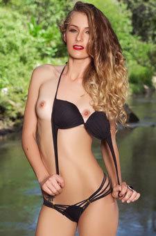 Skinny Babe Jennifer In Her Black Bikini